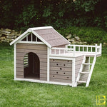 Grey & White Outdoor Dog House With Side Deck