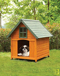 Honey Oak & Green Outdoor Dog House
