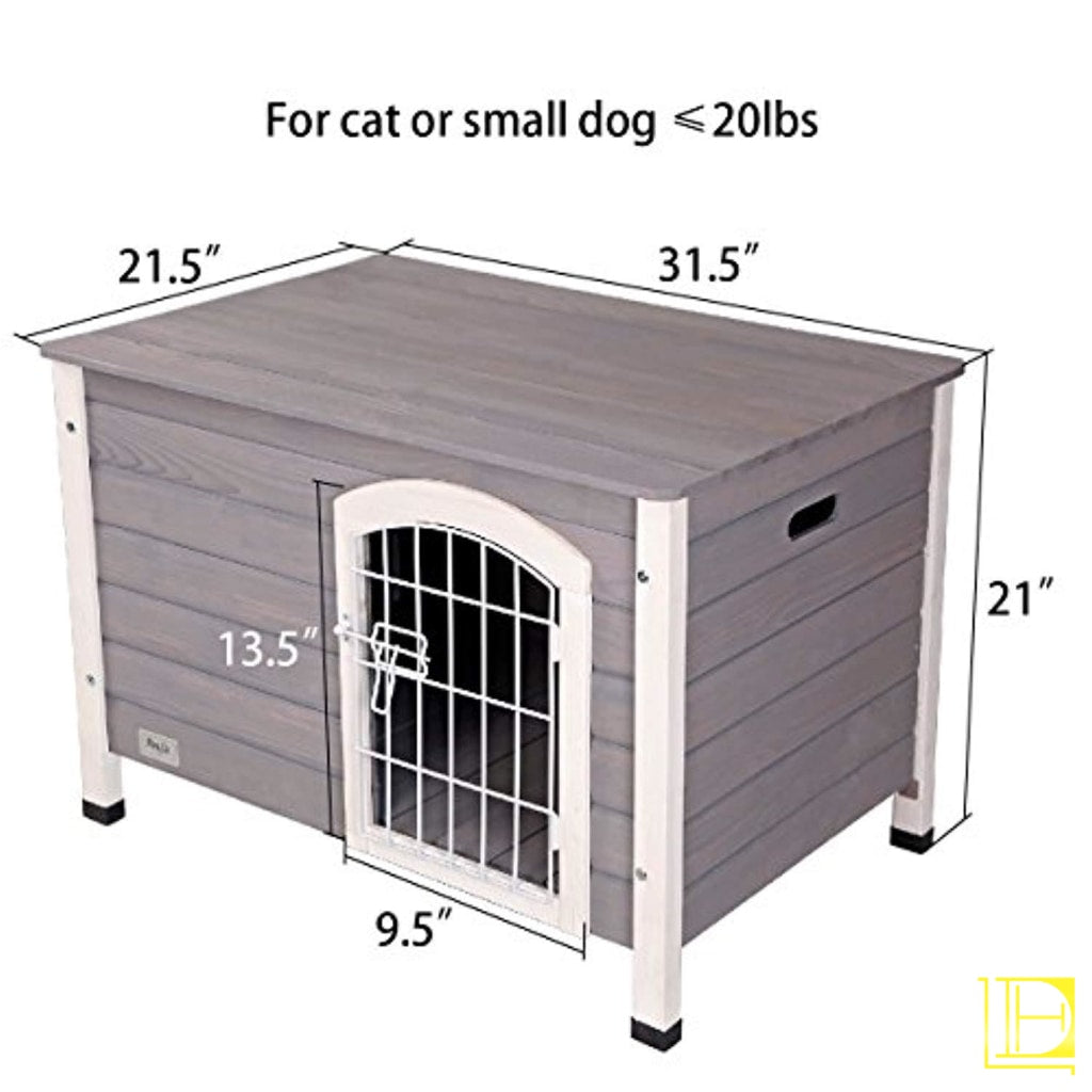 Indoor Wooden Dog House With Wire Door