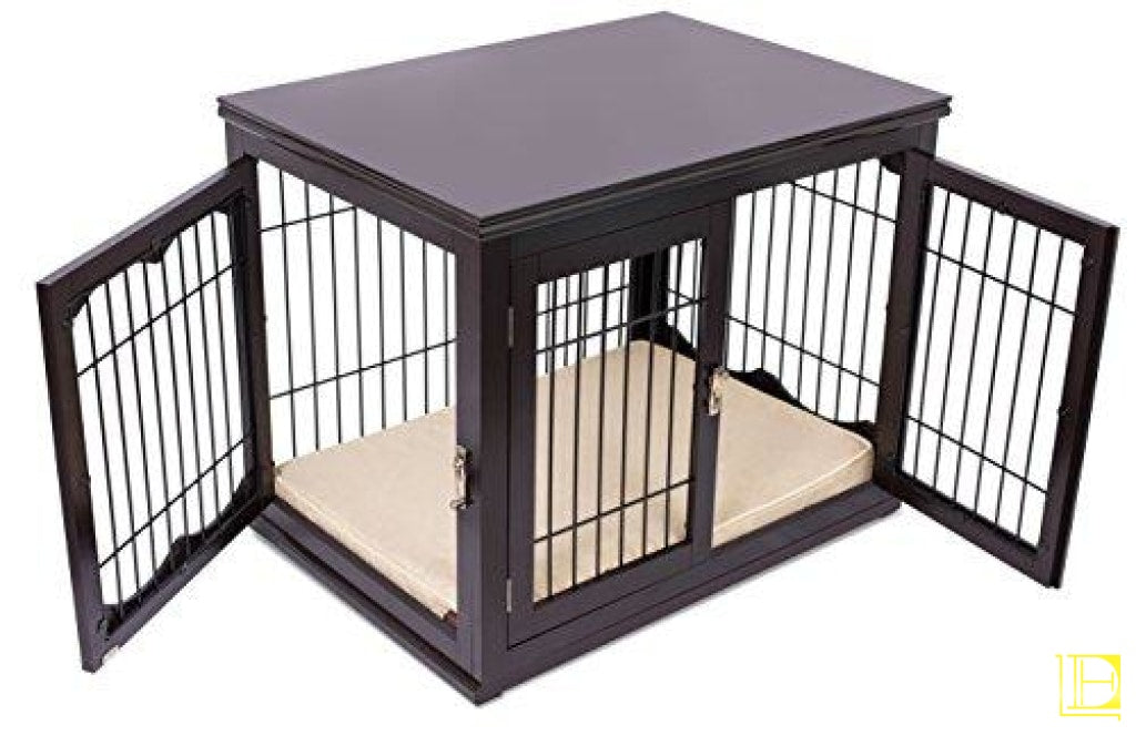 Internets Best Wood & Wire Dog Crate With Cushion