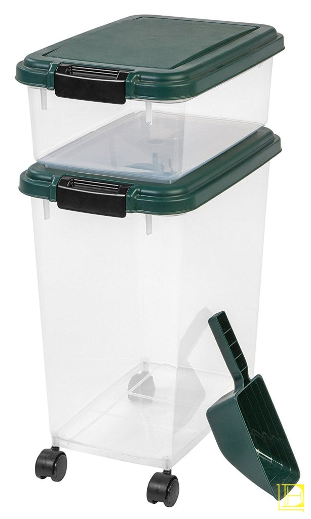 Iris 3-Piece Airtight Pet Food Container Combo Dark Green