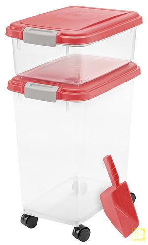 Iris 3-Piece Airtight Pet Food Container Combo Red