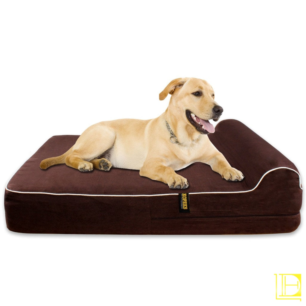 Kopeks Orthopedic Memory Foam Dog Bed With Pillow And Waterproof Liner Jumbo Xl / Chocolate Brown