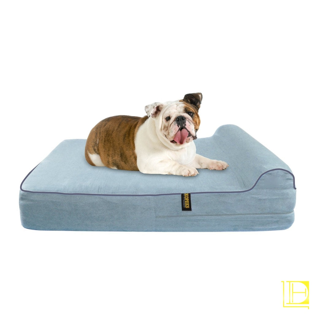 Kopeks Orthopedic Memory Foam Dog Bed With Pillow And Waterproof Liner Large / Grey