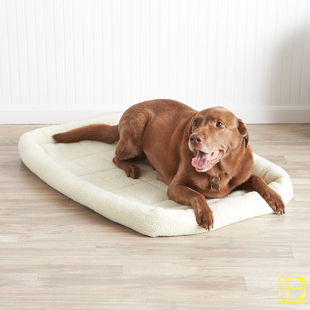 Off-White Padded Fleece Dog Bed 40-Inch