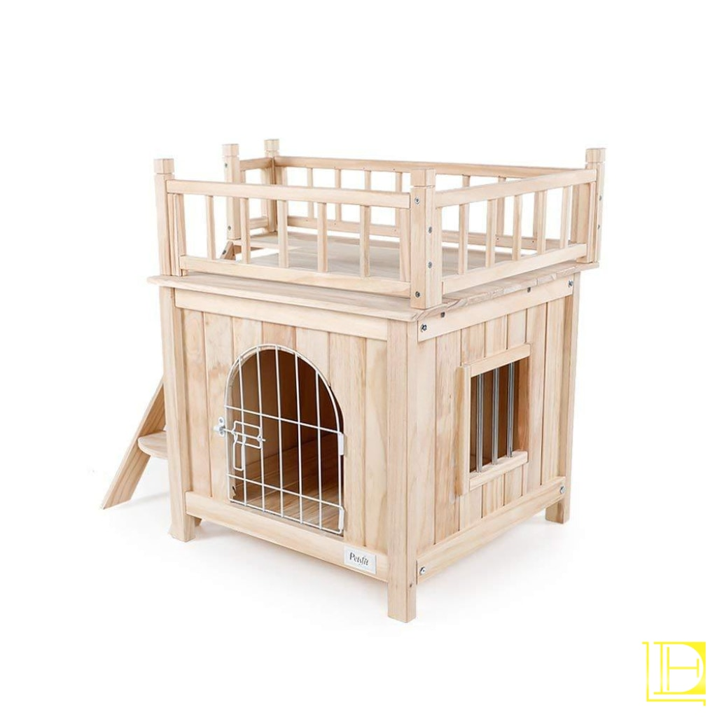 Petsfit Indoor Wooden Dog/pet/cat House With Stairs Grey