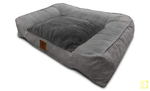 Plush Grey Memory Foam Sofa-Style Dog Bed Brown