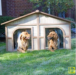 Spacious Wooden Outdoor Duplex Dog Kennel