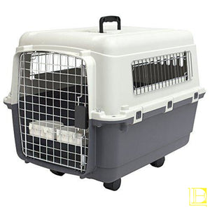 Sportpet Designs Plastic Kennels Rolling Wire Door Travel Dog Crate
