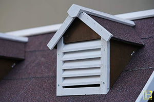 Vintage-Style Dog House W/ Porch & Double-Vented Windows