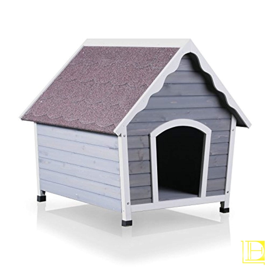 White & Grey Weather-Resistant Outdoor Dog House (Med Small)