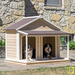 White Wash Antique-Style Duplex Dog House With A Roof