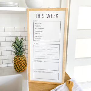 Conquer the Week White Board (Oak Trim)