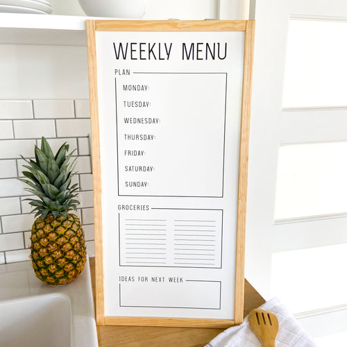What's For Dinner? Modern Menu Board (Oak Trim)