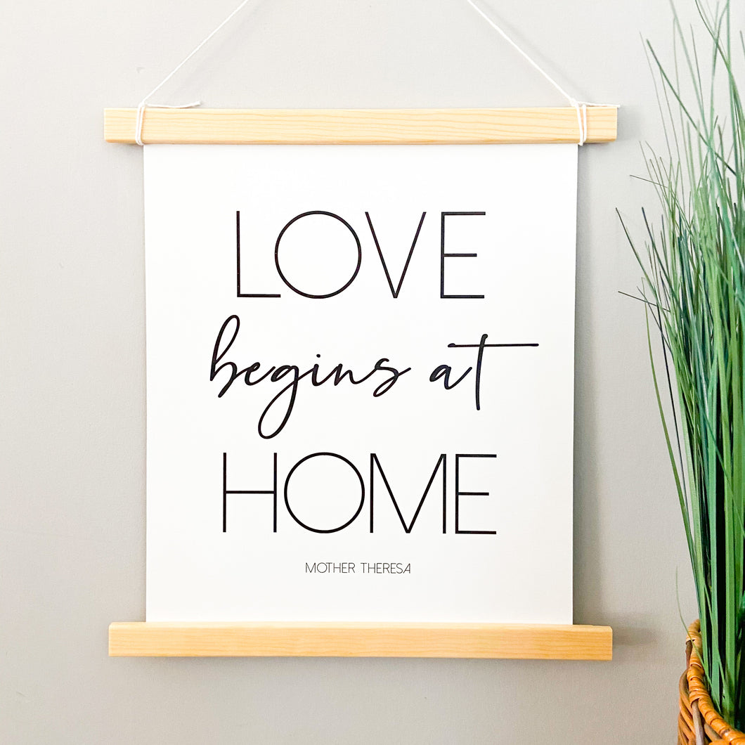 Love Begins at Home Sign Pendant