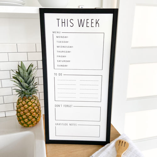 Conquer the Week White Board (Black Trim)