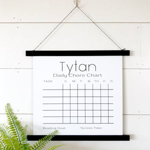 Personalized Black White Board Chore Chart