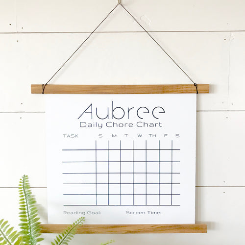 Personalized Oak White Board Chore Chart