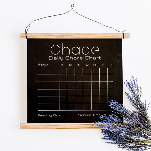 Personalized Oak Chalk Board Chore Chart