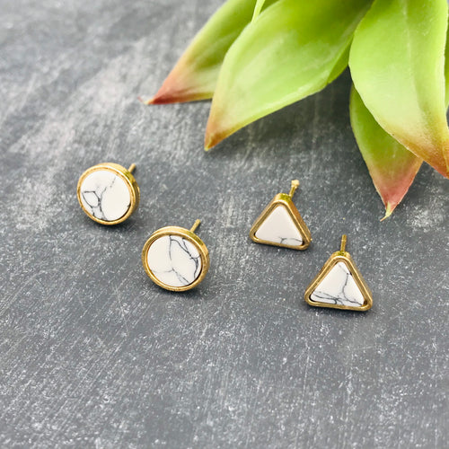 Geometric Marble Stud Earrings