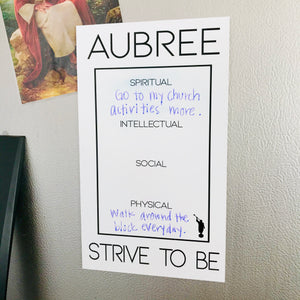 """Strive To Be"" Goal Whiteboard"