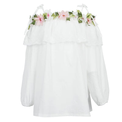 Off Shoulder Top with Flowery Embroidery
