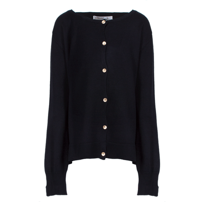 Fine Knit Cardigan Embellished With Gold Buttons