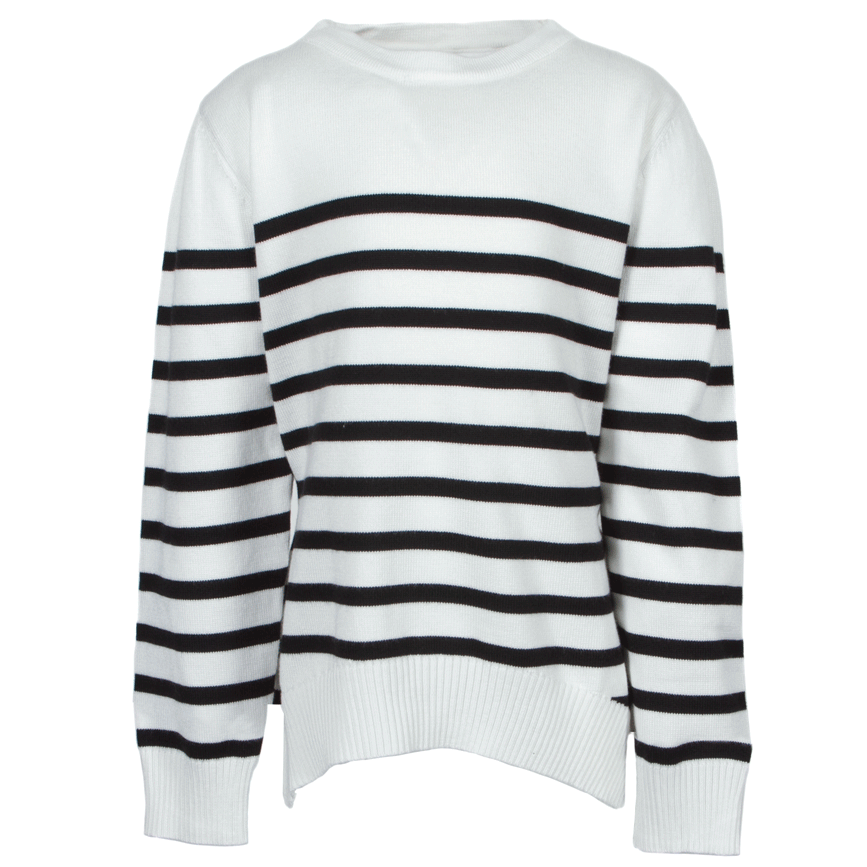 Black and White Stripped Knit Sweater