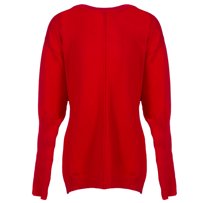 Christmas Red Round Neck Knit Sweater