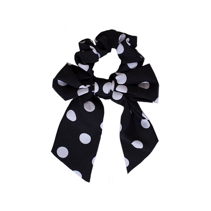 Adkidz black and white polka dot bow scrunchie