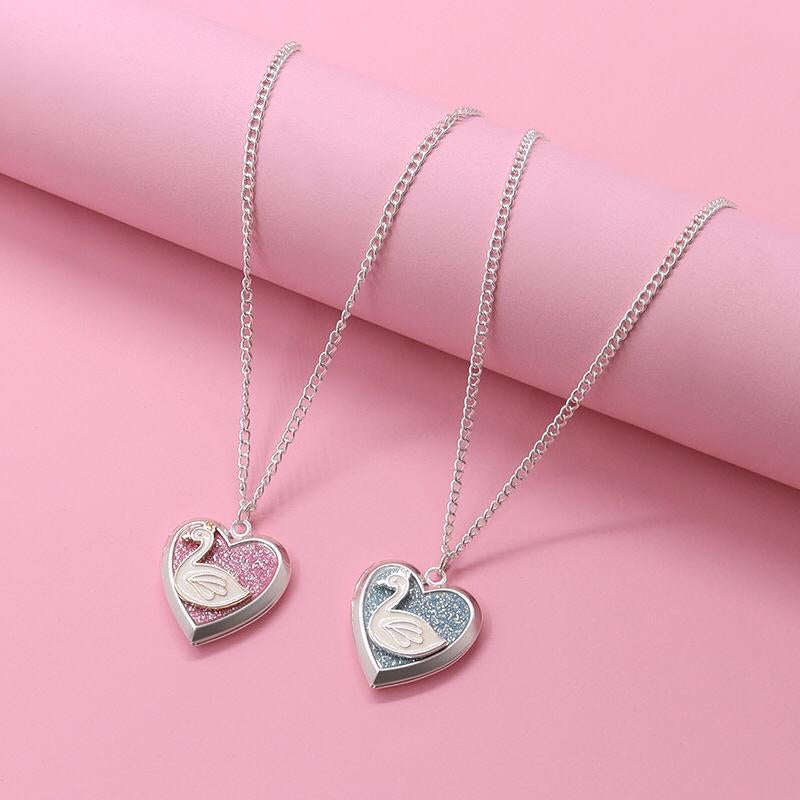 Adkidz BFF Heart Shaped Swan Locket with Chain