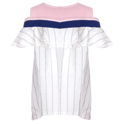 ADKIDZ Striped Cold Shoulder Top