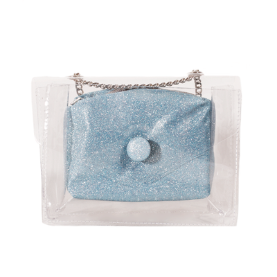 ADKIDZ transparent bag with inner sparkly blue pouch