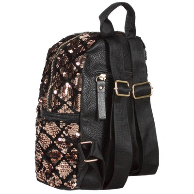 SPARKLY GOLD AND BLACK SEQUIN BACKPACK