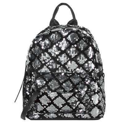 SPARKLY SILVER AND BLACK SEQUIN BACKPACK
