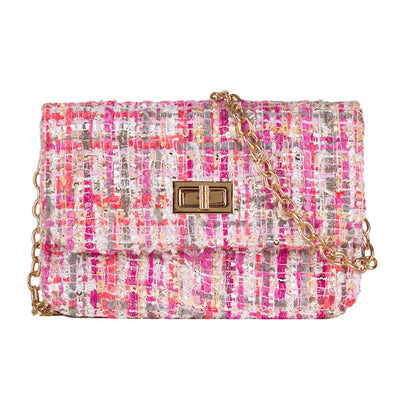 Tweed Cross Body Chain Bag