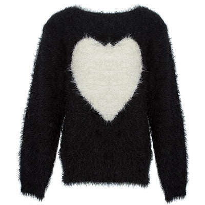 Feather-Effect Sweater with Heart