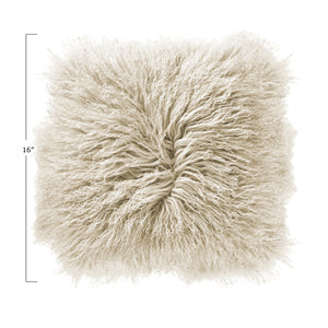 "Catalina 16"" Sq. Cream Mongolian Lamb Fur Pillow"