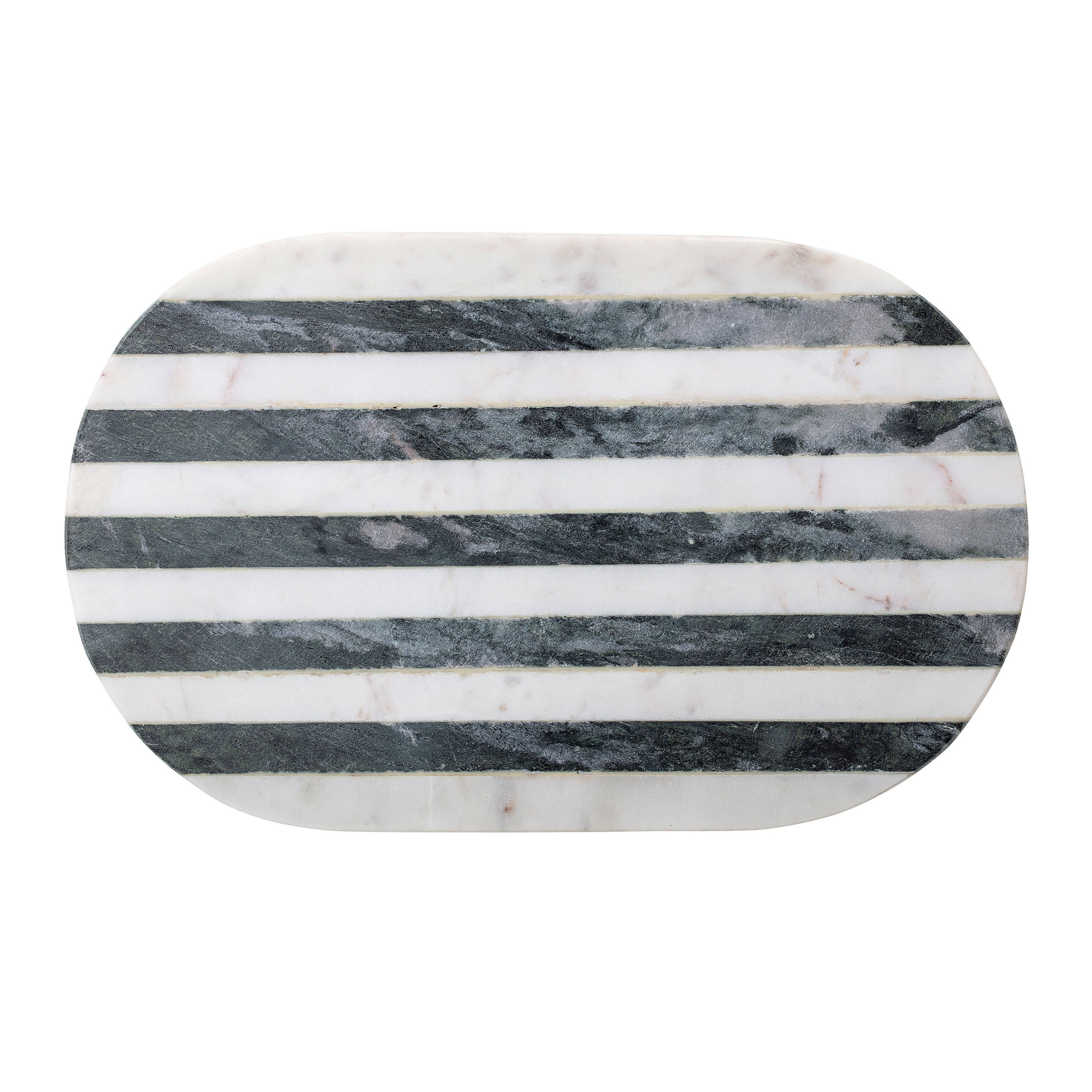 Soho Black + White Striped Marble Oval Cutting Board