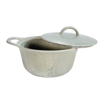 Load image into Gallery viewer, Catalina Matte Grey Round Stoneware Baker with Lid + Reactive Glaze Finish