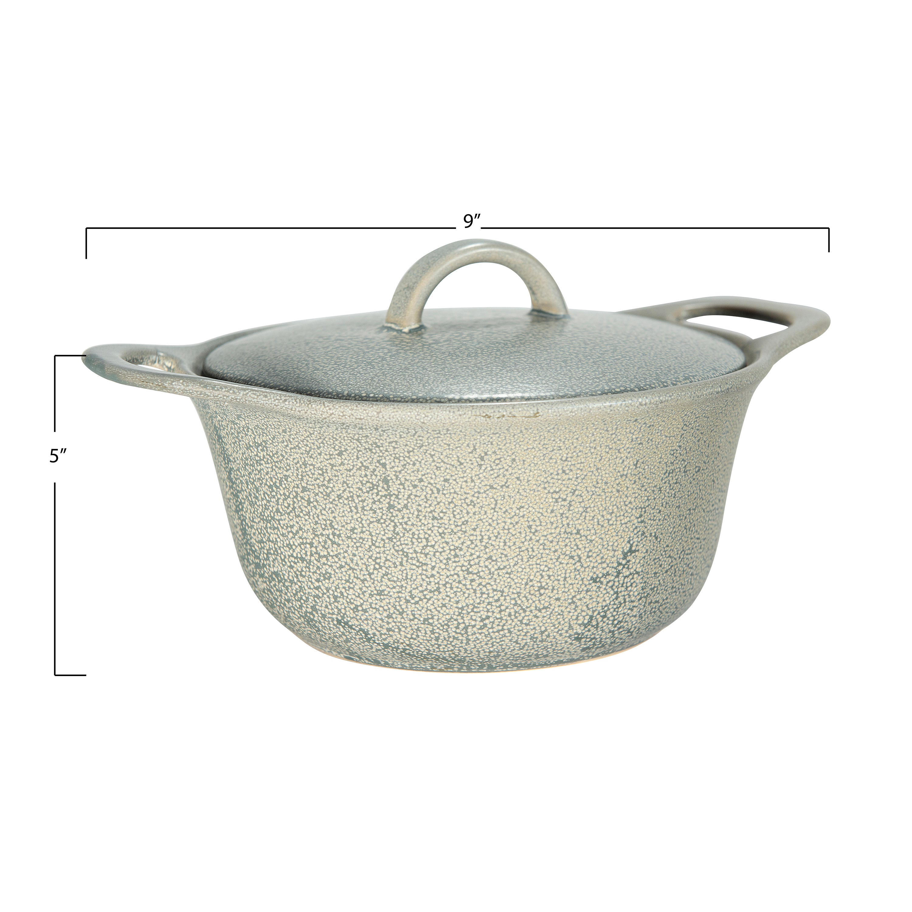 Catalina Matte Grey Round Stoneware Baker with Lid + Reactive Glaze Finish