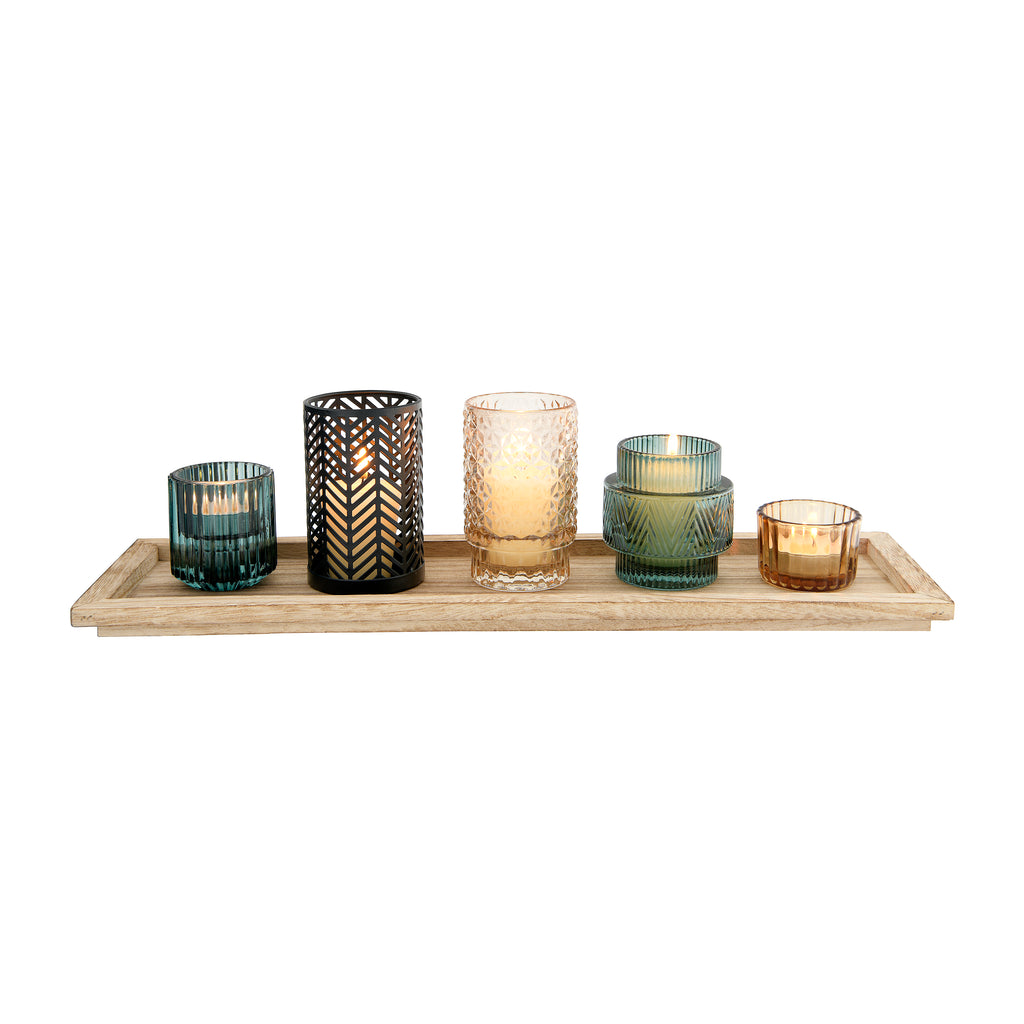 Silverlake Embossed Glass/Metal Votive + Wood Tray Set