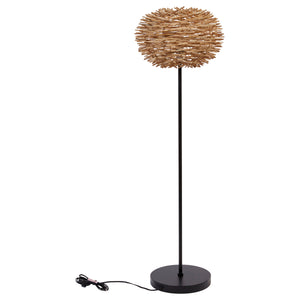 "58""H Dana Point Metal Floor Lamp with Handmade Rattan Shade"