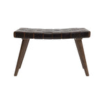 "Load image into Gallery viewer, Telluride 29.5""W Wood Bench with Brown Basketweave Leather Seat"