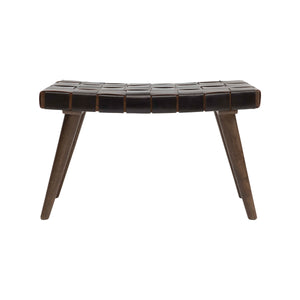 "Telluride 29.5""W Wood Bench with Brown Basketweave Leather Seat"