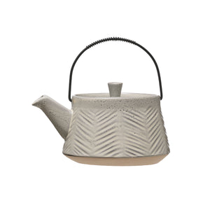 Huntington Pale Grey Reactive Glaze Stoneware Teapot with Metal Strainer
