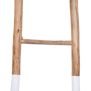 "Taos 72.5""H Fir Wood Decorative Ladder with White Dipped Bottom"