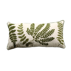 White Cotton Pillow with Embroidered Fern Lumbar Pillow
