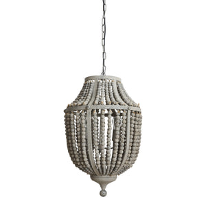 Wilshire Metal Chandelier with Grey Wood Beads