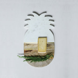 Marble + Wood Pineapple-Shaped Cutting Board